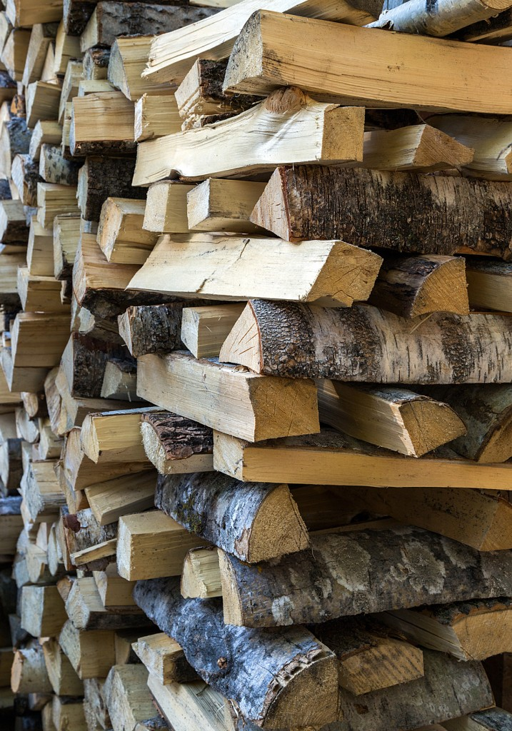 chopped firewood logs in a pile